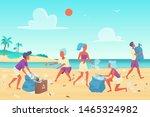 Beach Cleaning Flat Vector...