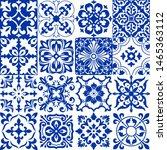set of 16 tiles azulejos in... | Shutterstock .eps vector #1465363112