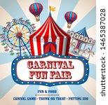 colorful carnival funfair... | Shutterstock .eps vector #1465387028