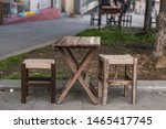 Wooden Folding Table And Two...