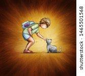 little school boy and cat.... | Shutterstock . vector #1465501568