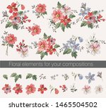 vector floral set with leaves...   Shutterstock .eps vector #1465504502