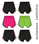 ladies running shorts template | Shutterstock .eps vector #146551916