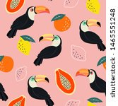 Trendy Pattern With Toucan And...