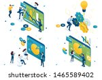 set of isometric concepts... | Shutterstock .eps vector #1465589402
