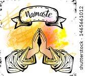 namaste mudra. hands on the... | Shutterstock .eps vector #1465661012