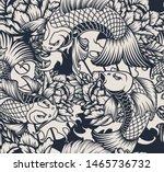 monochrome seamless pattern... | Shutterstock . vector #1465736732