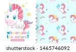 drawing of beautiful unicorn... | Shutterstock .eps vector #1465746092