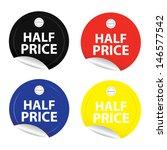 half price stickers. vector.  | Shutterstock .eps vector #146577542