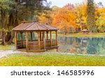 Wooden Gazebo On The Lake In...