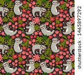 seamless background with sloth... | Shutterstock .eps vector #1465897292