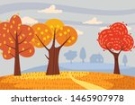 Autumn Landscape Trees Yellow...