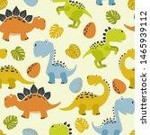 seamless cute cartoon dinosaurs ... | Shutterstock .eps vector #1465939112