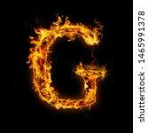 letter g. fire flames on black...   Shutterstock . vector #1465991378