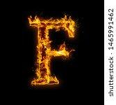 letter f. fire flames on black...   Shutterstock . vector #1465991462