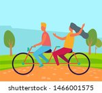 man and woman riding bicycle ... | Shutterstock .eps vector #1466001575