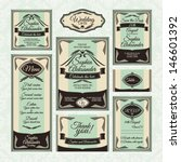 set  4 of wedding cards.... | Shutterstock .eps vector #146601392