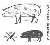 Americana (US) tagli di carne di maiale - stock vettoriale