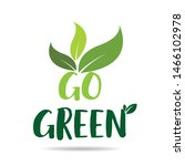 go green eco icon with leaves.... | Shutterstock .eps vector #1466102978