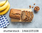 Banana Bread With Nuts Sliced...
