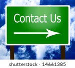 Contact Us sign guidepost arrow right - stock photo