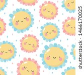Stock vector flowers cute pattern smile flower face cartoon seamless background vector illustration 1466170025