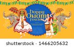 happy onam festival design with ... | Shutterstock .eps vector #1466205632