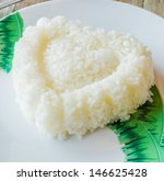 rice in white dish on the wood... | Shutterstock . vector #146625428