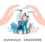 bright poster family protection ... | Shutterstock .eps vector #1466334008