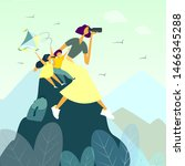 happy mother hiking with her... | Shutterstock .eps vector #1466345288