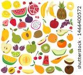 fruits set. cute fruit lemon... | Shutterstock . vector #1466400572