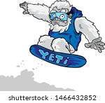 Stock vector yeti snow board vector illustration 1466432852