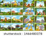set of various animals in... | Shutterstock .eps vector #1466480378