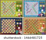 set of snake and ladder game... | Shutterstock .eps vector #1466481725