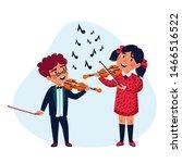 girl and boy musicians. happy...   Shutterstock .eps vector #1466516522