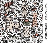 doodle seamless pattern on the... | Shutterstock .eps vector #1466923298