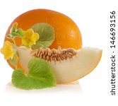 Melon Fruit With Flowers And...