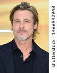 """Small photo of LONDON, UK. July 30, 2019: Brad Pitt at the UK premiere for """"Once Upon A Time In Hollywood"""" in Leicester Square, London. Picture: Steve Vas/Featureflash"""