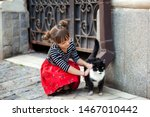 Stock photo young girl helps a homeless cat on the street the concept of pets friendship trust love and 1467010442