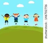 kids on the hill | Shutterstock .eps vector #146702756