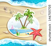 summer beach with palm trees ...   Shutterstock . vector #146705705