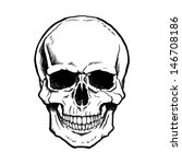 Black And White Human Skull...
