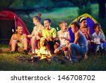 group of happy kids roasting... | Shutterstock . vector #146708702