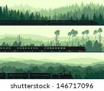 Horizontal abstract banners: locomotive and the high speed train on background hills of coniferous wood in green tone. - stock vector