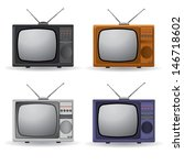 set of vintage televisions | Shutterstock .eps vector #146718602