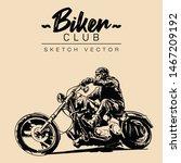 biker on a motorcycle. hand...   Shutterstock .eps vector #1467209192