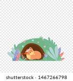 cute fox in wreath sleeping in... | Shutterstock .eps vector #1467266798