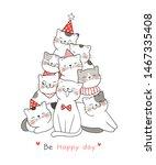 Draw  Illustration Happy Cat...