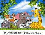 cute animals in nature scene... | Shutterstock .eps vector #1467337682