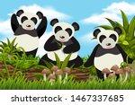 adorable pands in jungle scene... | Shutterstock .eps vector #1467337685